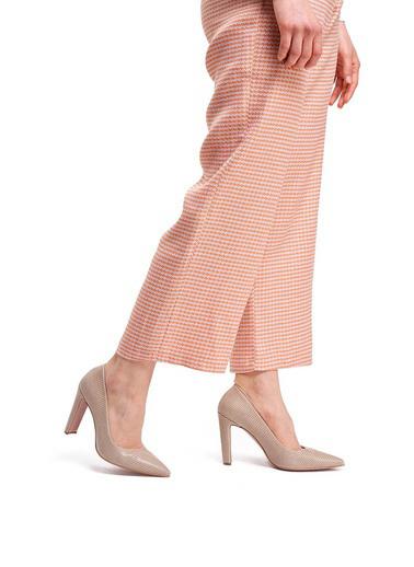 Mizalle Mızalle Kalın Topuklu Stiletto  Bej